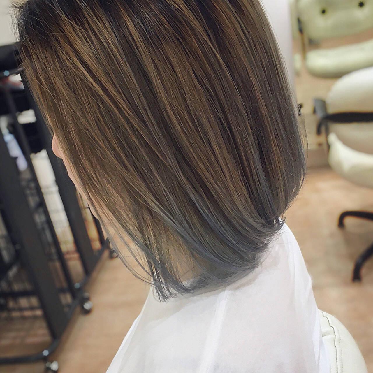 グラデーションカラー ブルー モード ブリーチカラーヘアスタイルや髪型の写真・画像