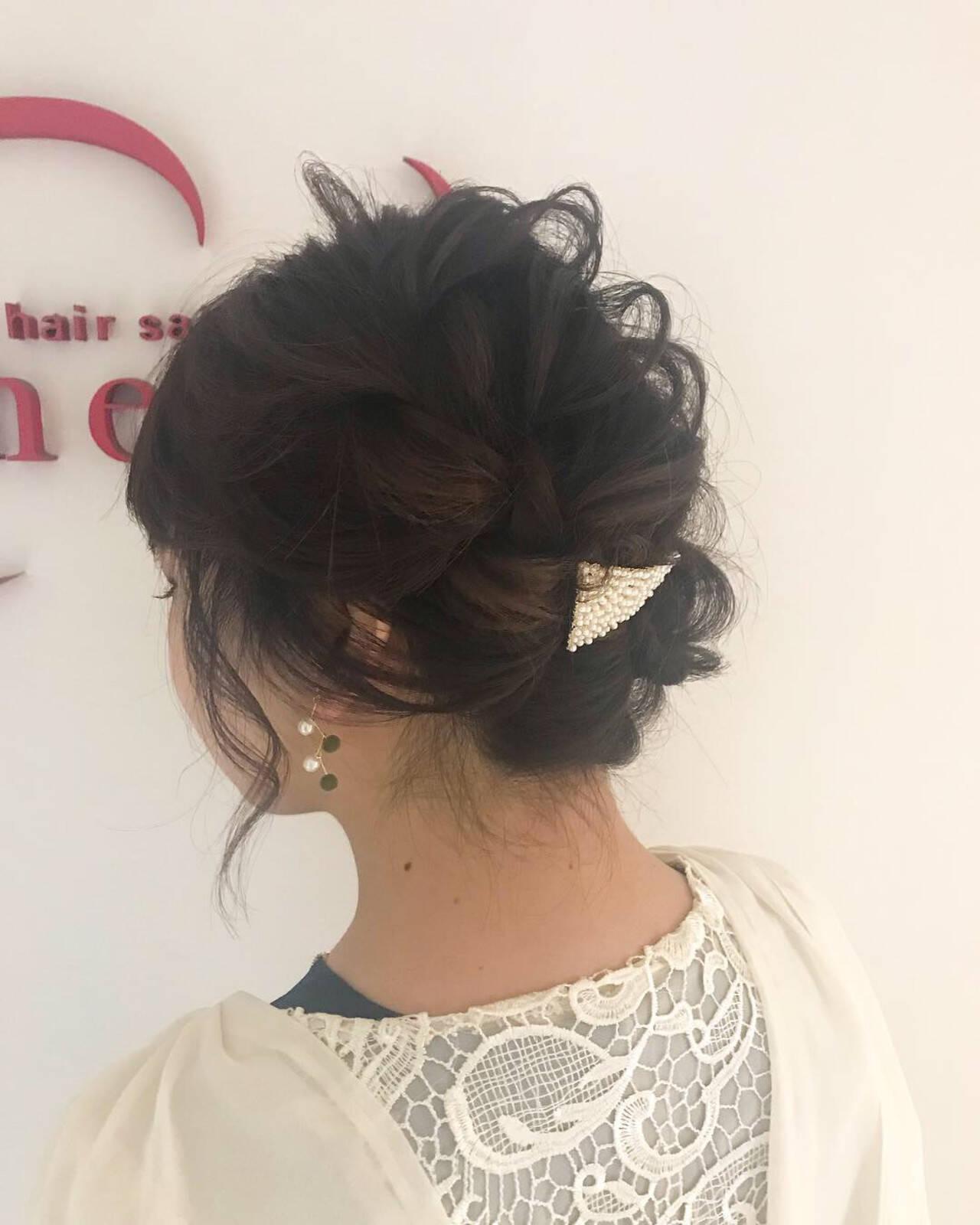 フェミニン ヘアアレンジ ボブ 編み込みヘアスタイルや髪型の写真・画像