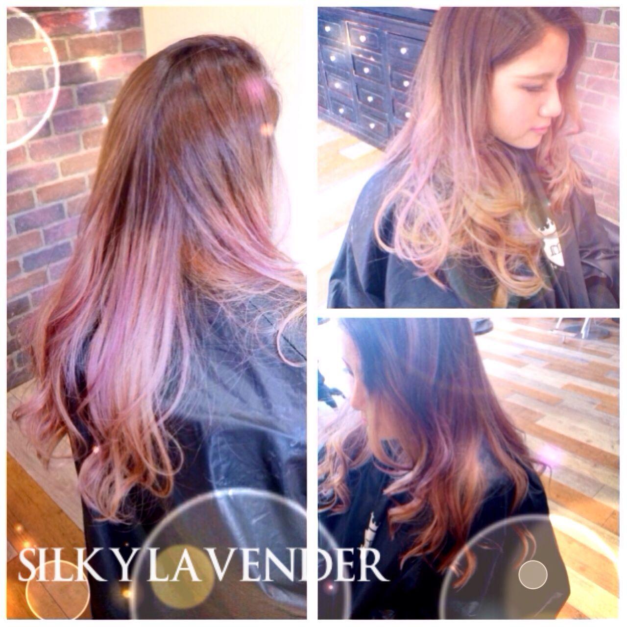 外国人風カラー ラベンダーピンク ラベンダーアッシュ グラデーションカラーヘアスタイルや髪型の写真・画像