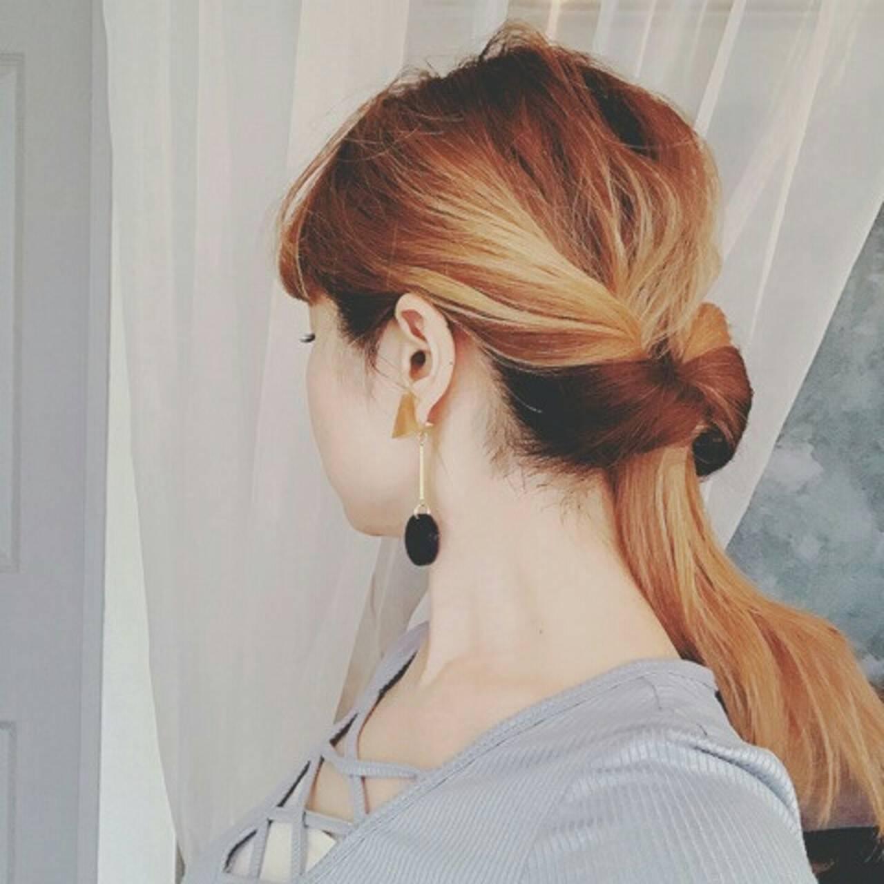 ポニーテール ロング ハイライト ヘアアレンジヘアスタイルや髪型の写真・画像