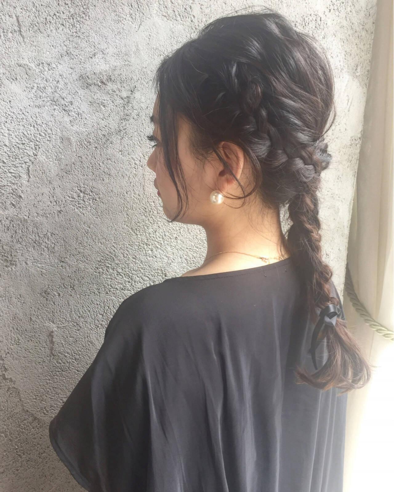 エレガント 編み込み ウェーブ ヘアアレンジヘアスタイルや髪型の写真・画像