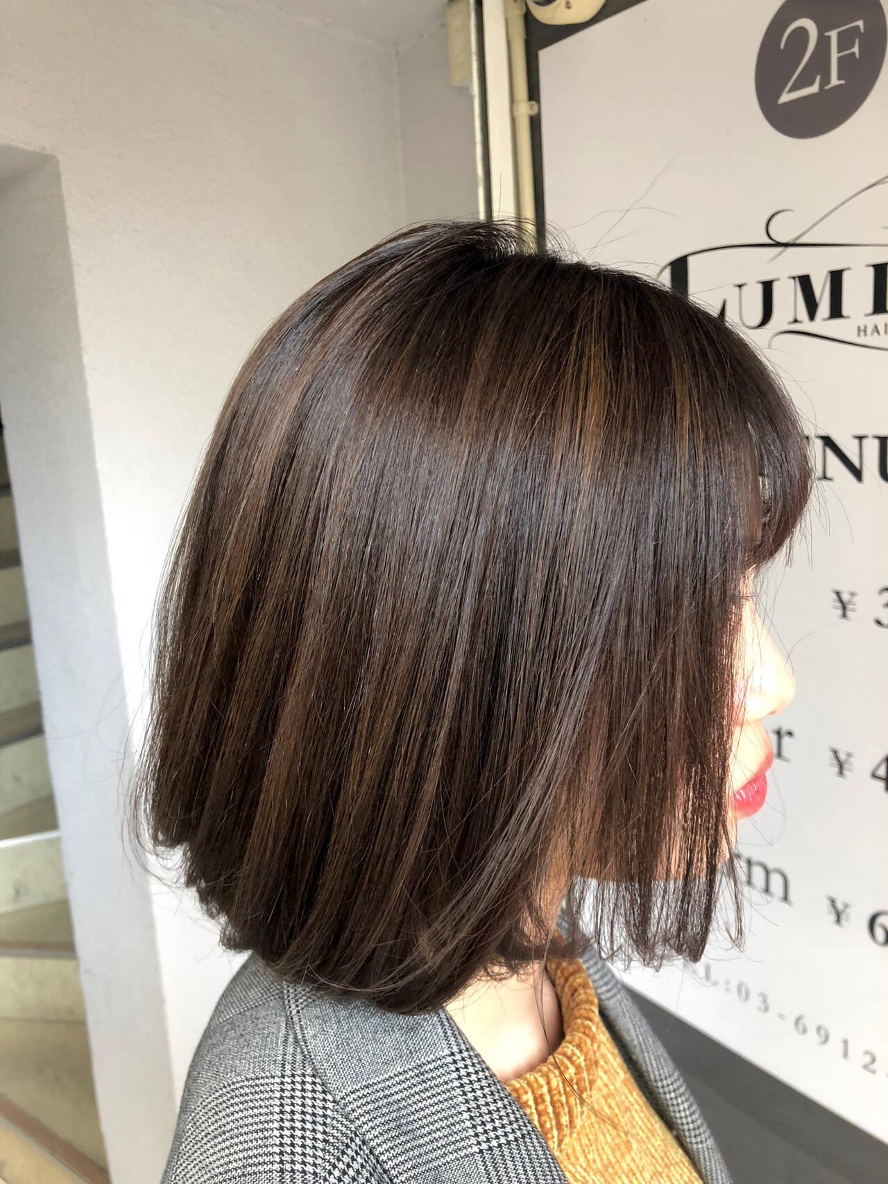 ヘアアレンジ 秋冬スタイル ハイライト オフィスヘアスタイルや髪型の写真・画像
