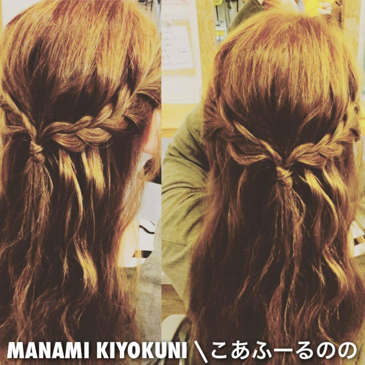 ヘアアレンジ ストリート ハーフアップ 三つ編みヘアスタイルや髪型の写真・画像