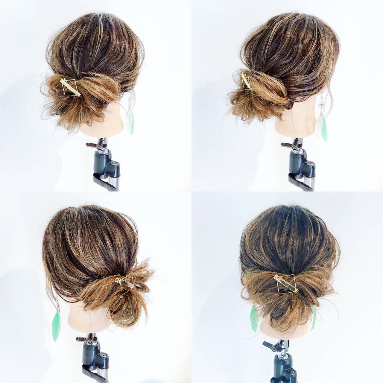 ヘアアレンジ ショート 簡単ヘアアレンジ オフィスヘアスタイルや髪型の写真・画像