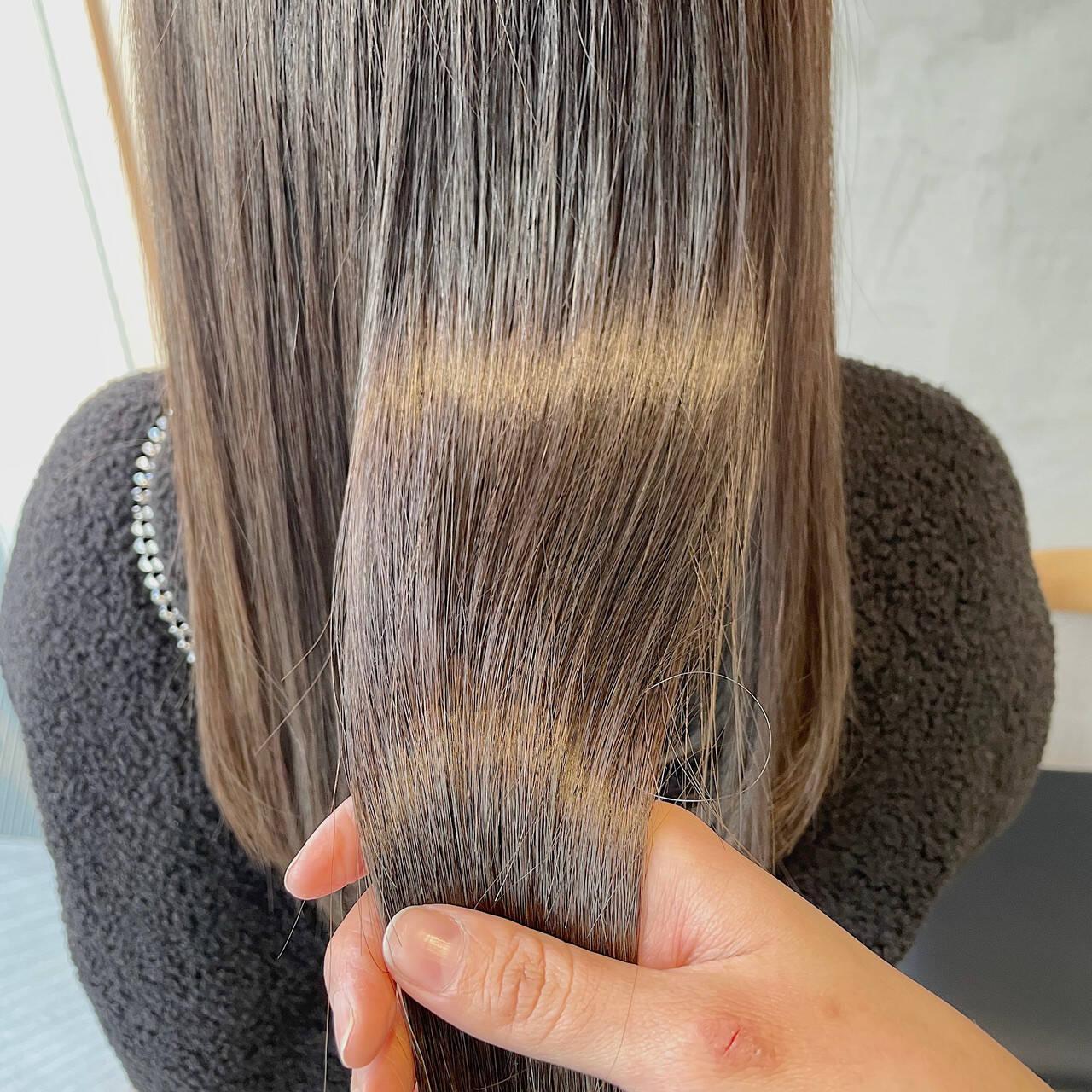 艶髪 ハイライト 透明感 縮毛矯正ヘアスタイルや髪型の写真・画像