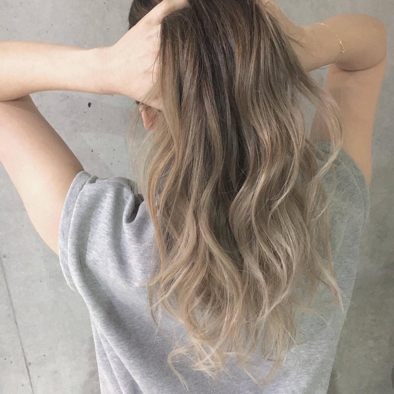 夏 グラデーションカラー エレガント ハイライトヘアスタイルや髪型の写真・画像