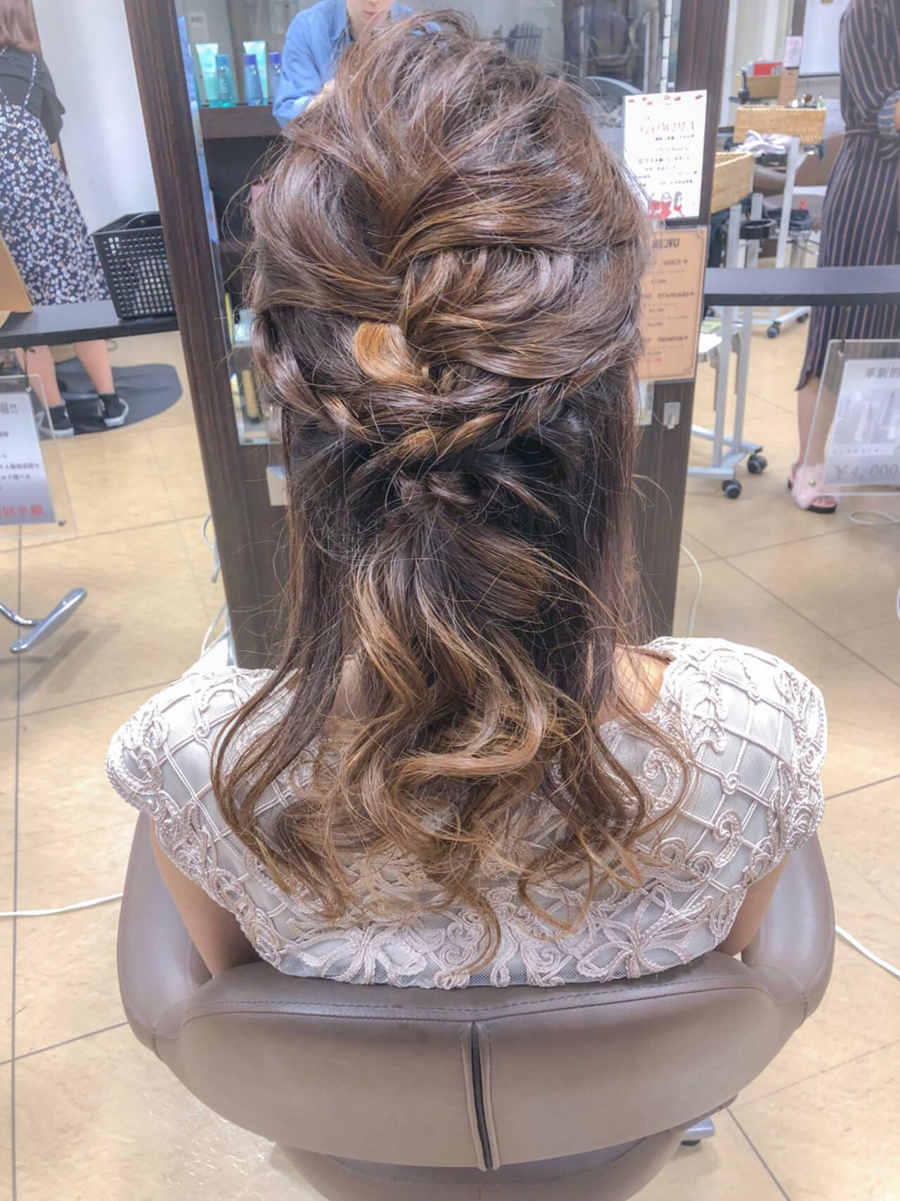 結婚式 ヘアアレンジ ハーフアップ セミロングヘアスタイルや髪型の写真・画像