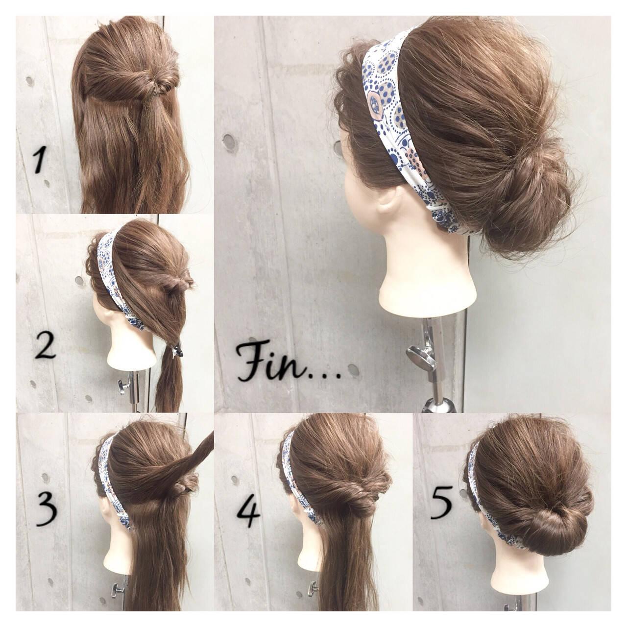 ヘアアクセ ヘアアレンジ セミロング くるりんぱヘアスタイルや髪型の写真・画像