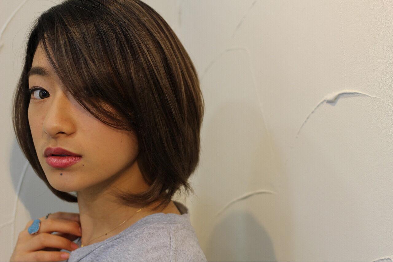 ミディアム 小顔 似合わせ ボブヘアスタイルや髪型の写真・画像