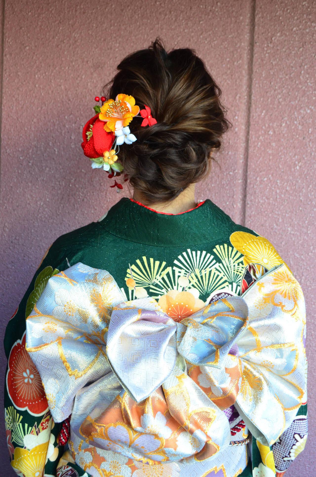 セミロング 結婚式 ナチュラル 簡単ヘアアレンジヘアスタイルや髪型の写真・画像