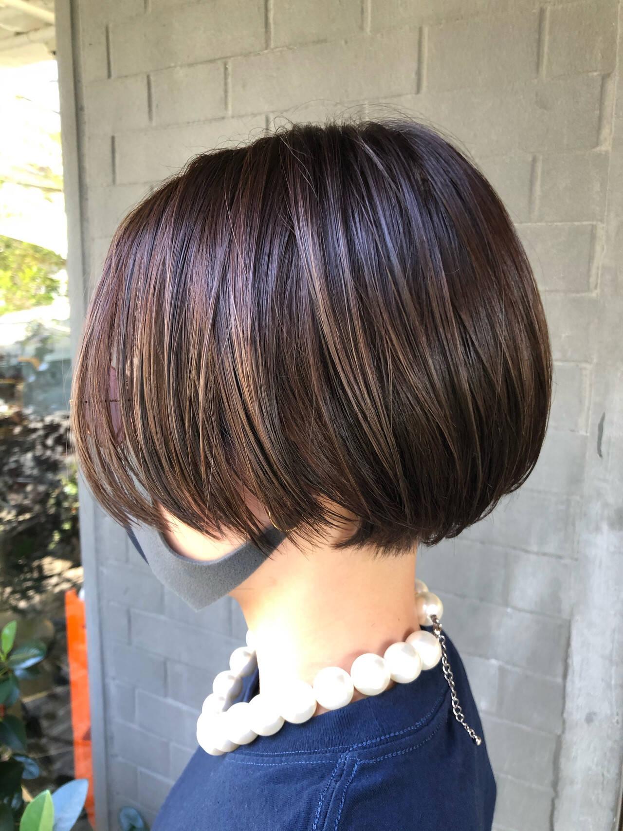 ハイライト ショートボブ 髪質改善トリートメント 髪質改善ヘアスタイルや髪型の写真・画像
