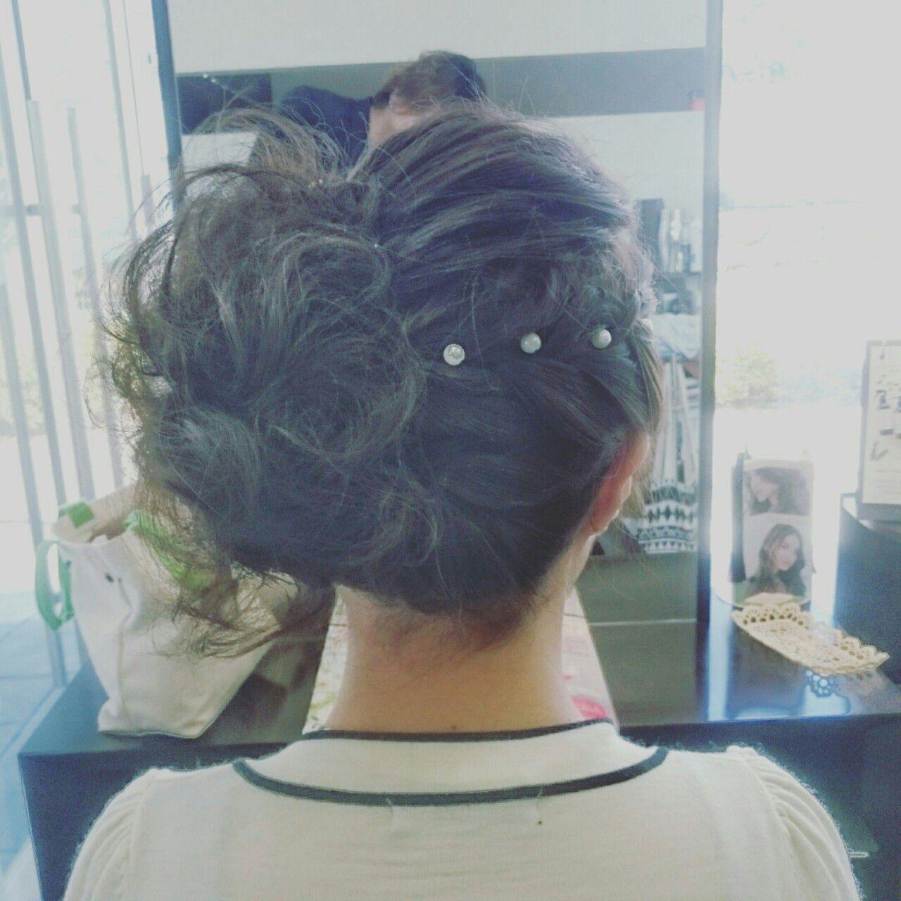 パーティ 結婚式 ヘアアレンジ フェミニンヘアスタイルや髪型の写真・画像