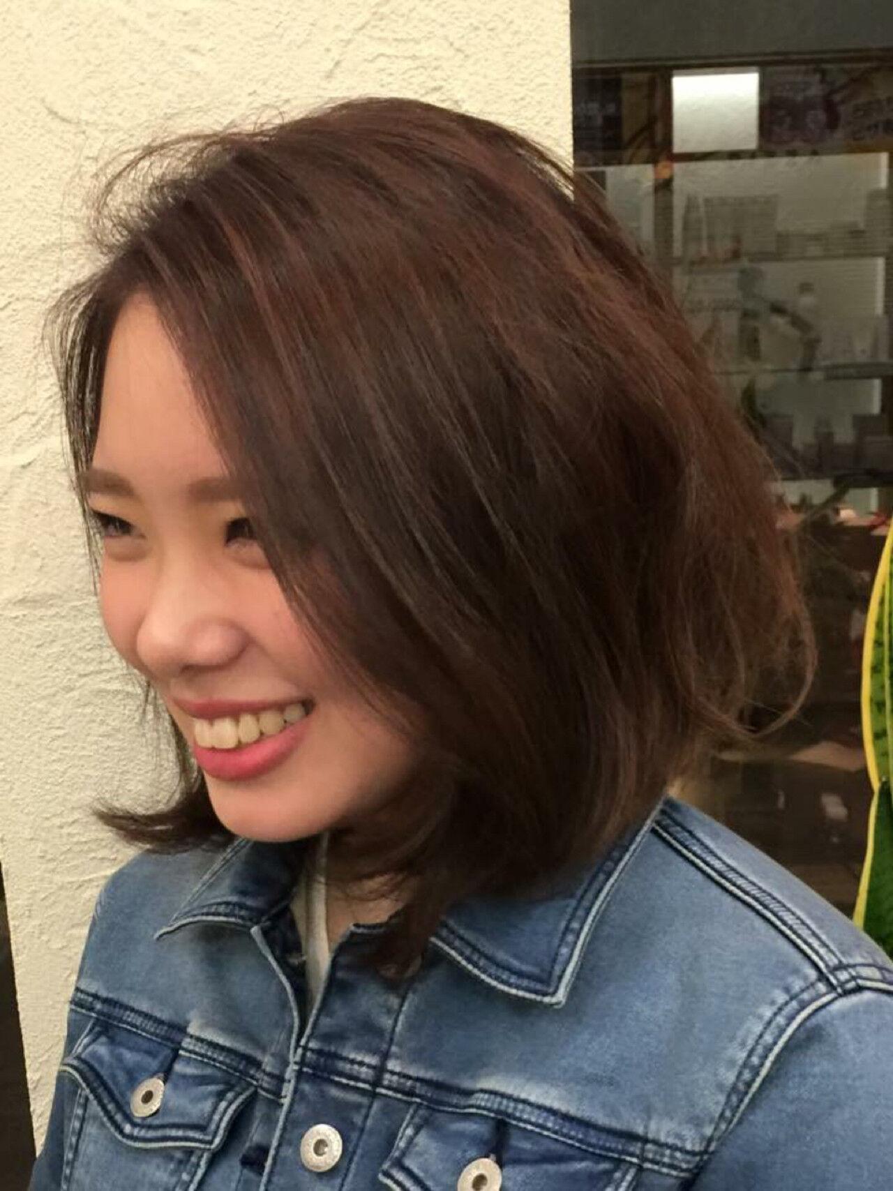 大人かわいい ボブ ストリート グラデーションカラーヘアスタイルや髪型の写真・画像