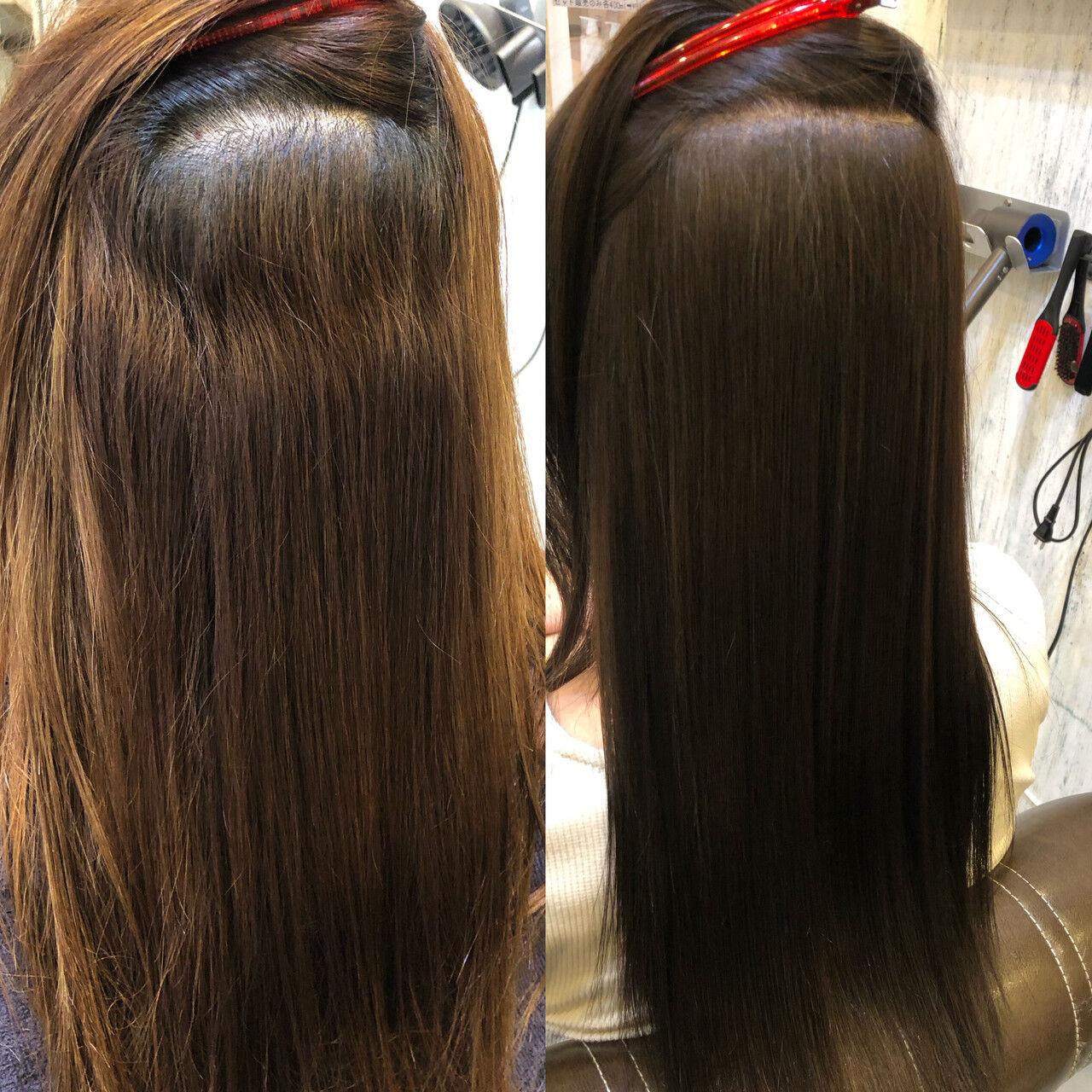 縮毛矯正 ストレート ナチュラル トリートメントヘアスタイルや髪型の写真・画像