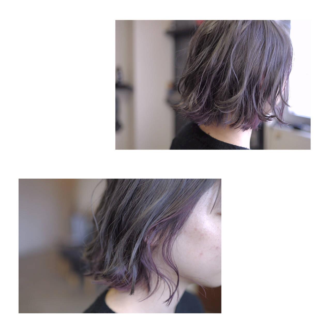 ボブ グレージュ 透明感 ストリートヘアスタイルや髪型の写真・画像