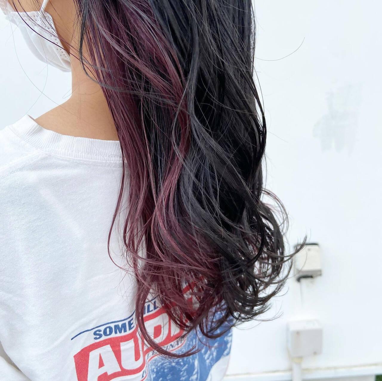 グレージュ ラベンダーピンク セミロング ピンクアッシュヘアスタイルや髪型の写真・画像