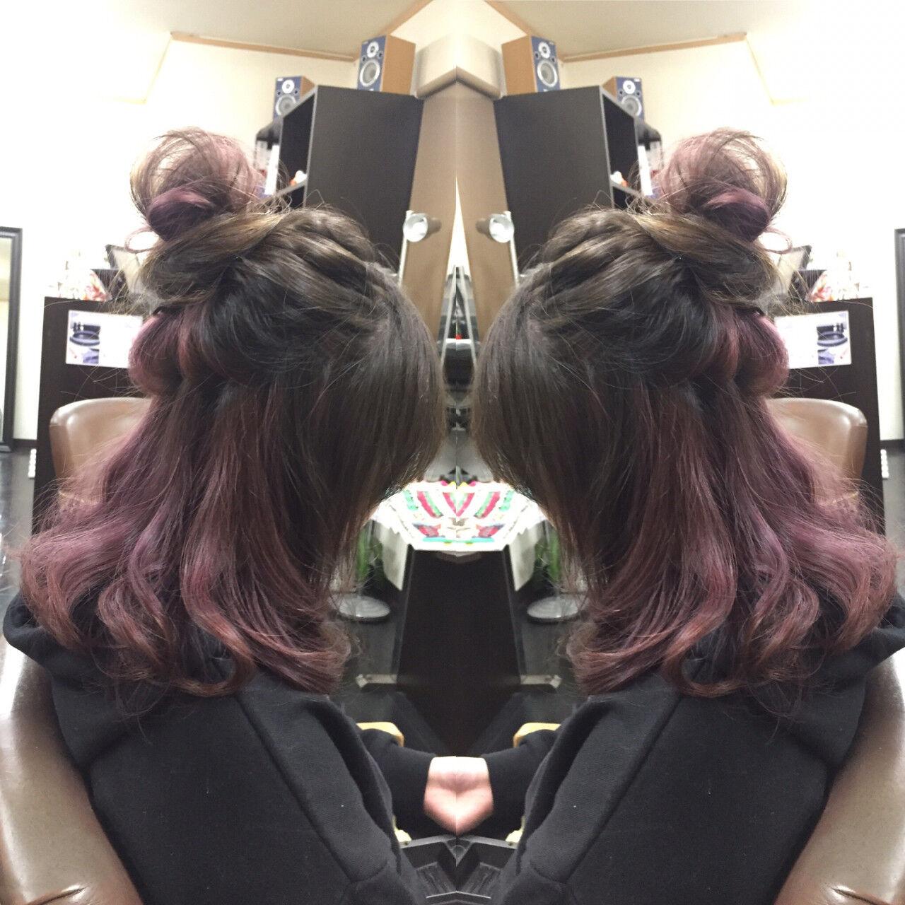 ヘアアレンジ セミロング ハーフアップ 外国人風ヘアスタイルや髪型の写真・画像