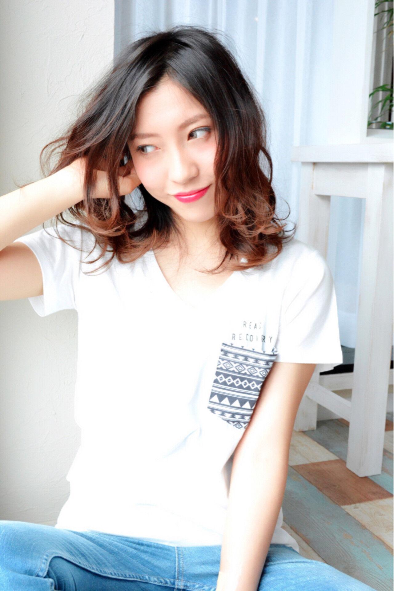 外国人風 大人かわいい ミディアム ゆるふわヘアスタイルや髪型の写真・画像
