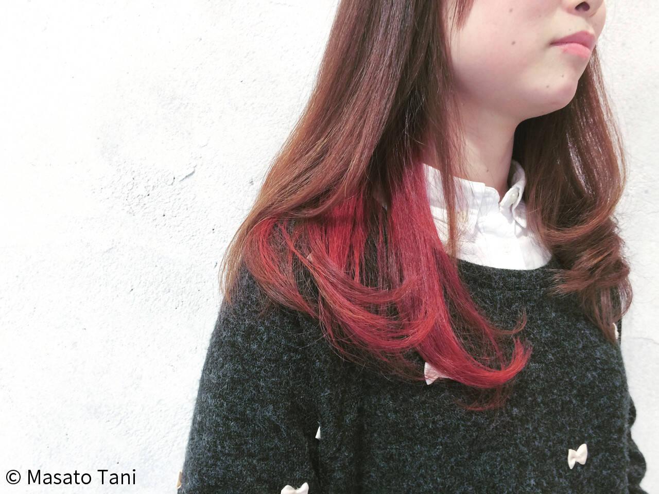 ツートン ストリート ロング ハイトーンヘアスタイルや髪型の写真・画像
