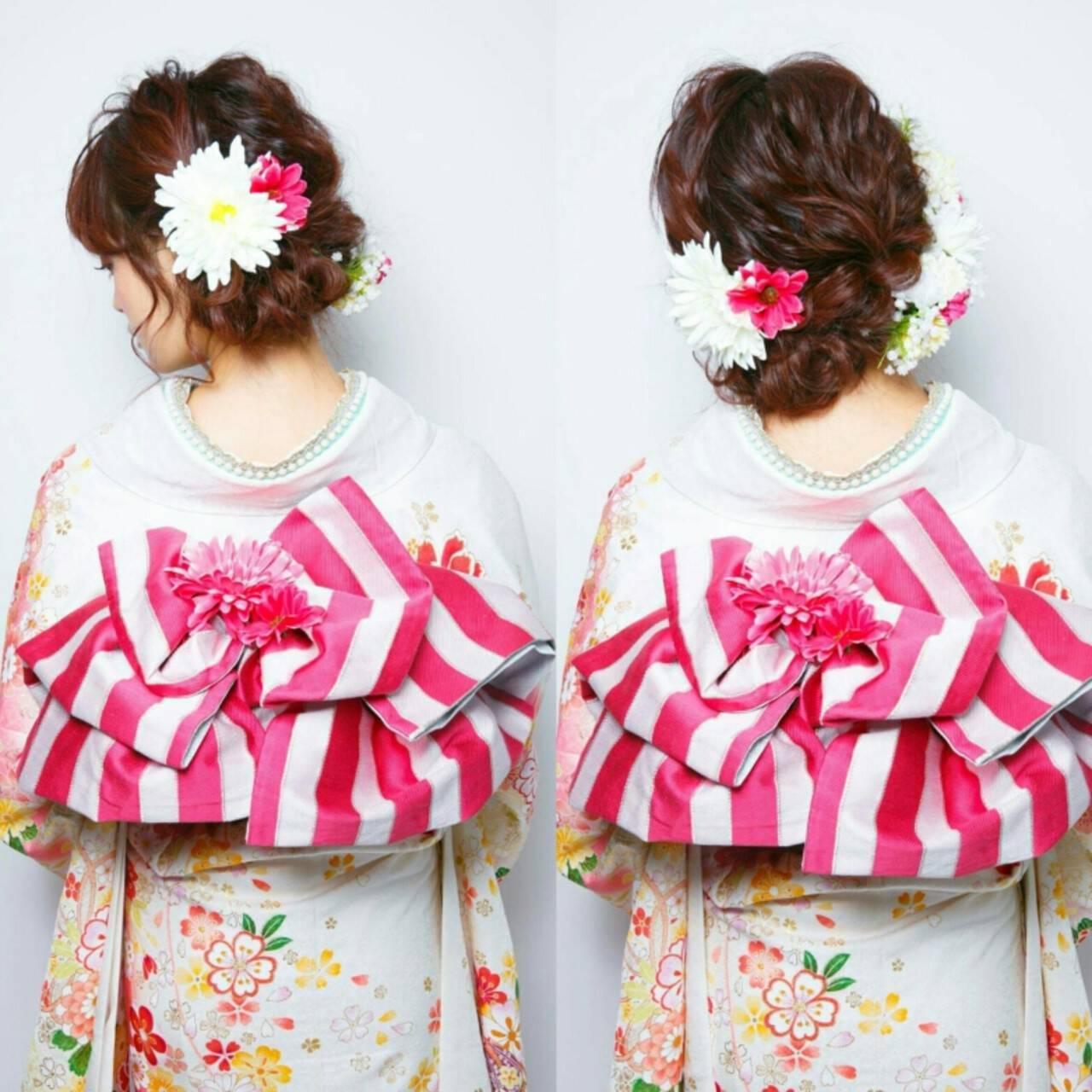 成人式 セミロング ヘアアレンジ 結婚式ヘアスタイルや髪型の写真・画像