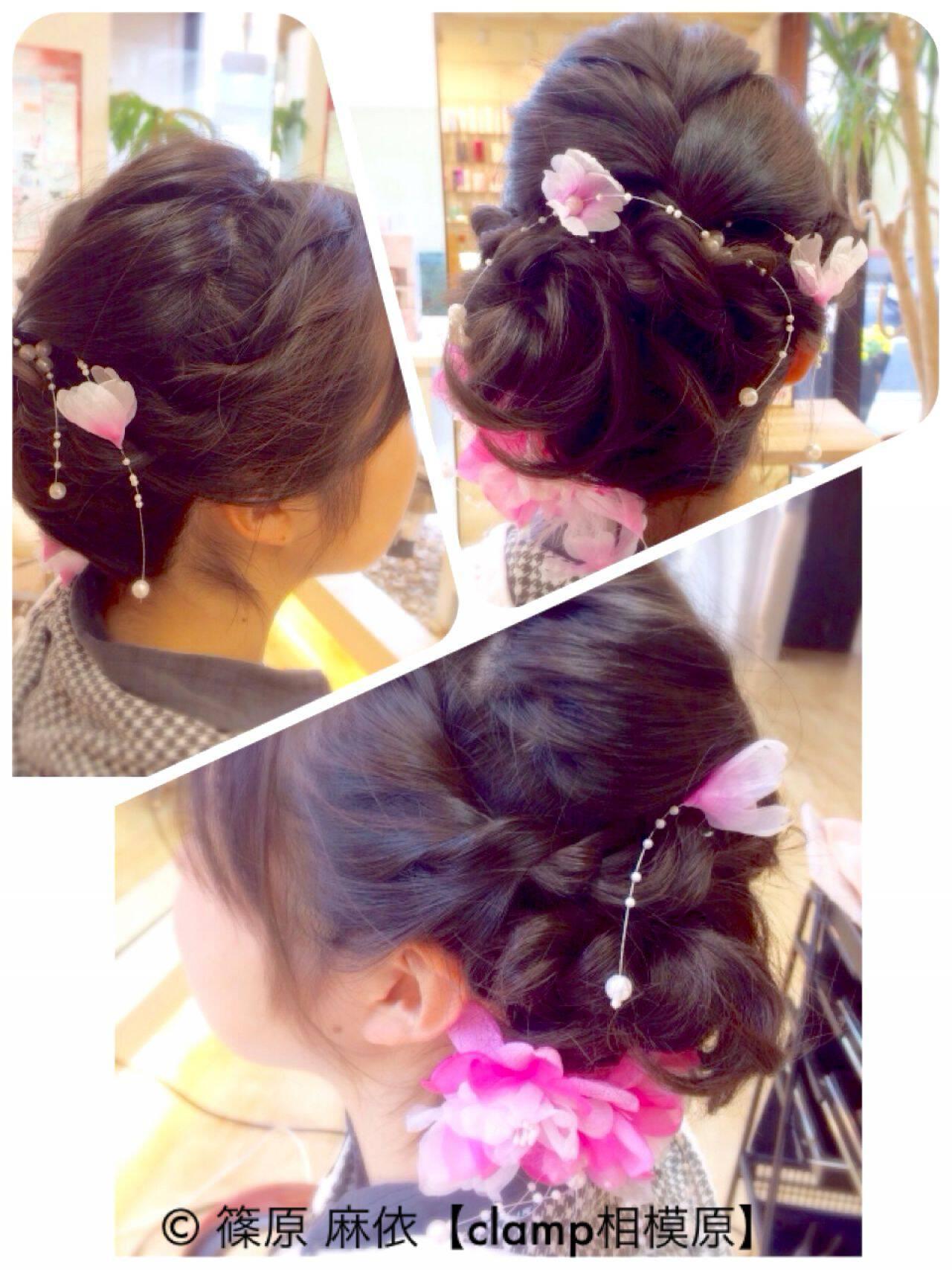 袴 編み込み 謝恩会 ヘアアレンジヘアスタイルや髪型の写真・画像