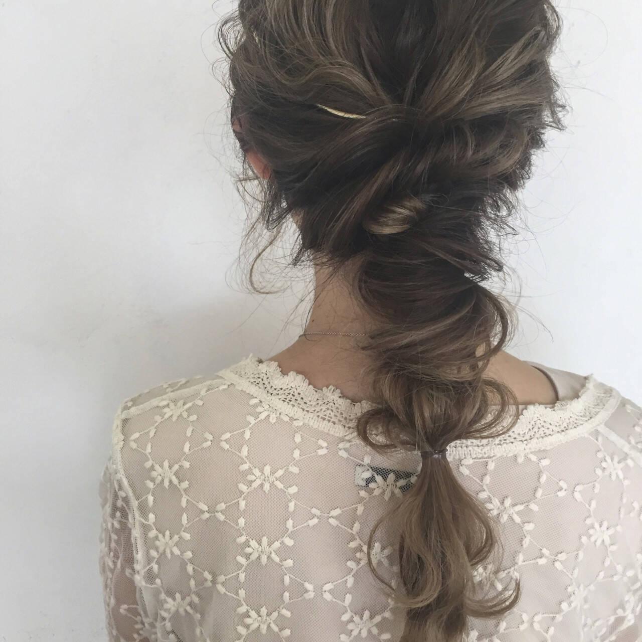 結婚式 ヘアアレンジ ナチュラル セミロングヘアスタイルや髪型の写真・画像