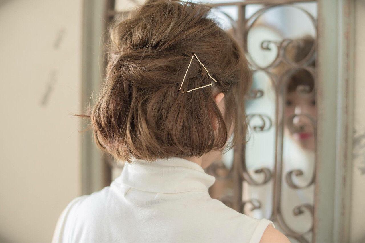 大人かわいい ヘアアレンジ ボブヘアスタイルや髪型の写真・画像
