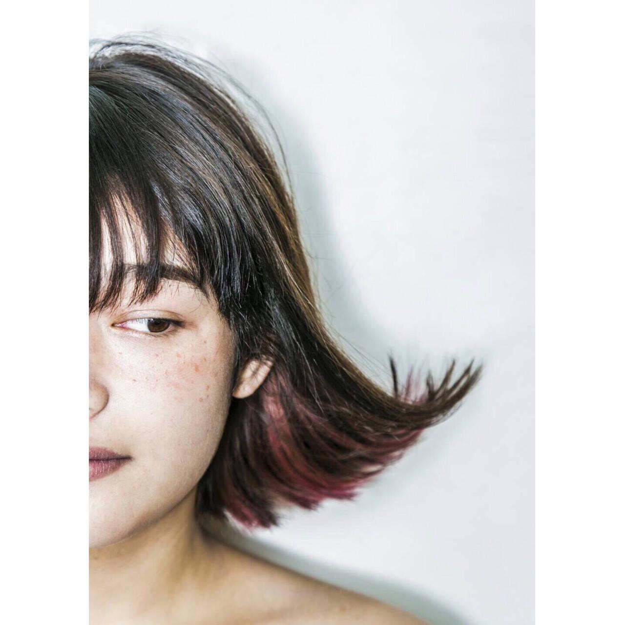 ボブ ピンク ガーリー インナーカラーヘアスタイルや髪型の写真・画像