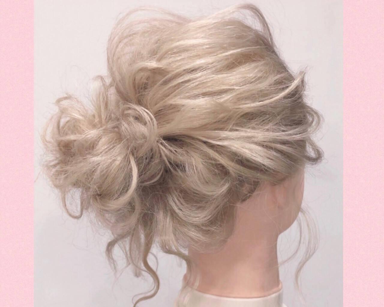 ヘアセット 簡単ヘアアレンジ エレガント ブライダルヘアスタイルや髪型の写真・画像