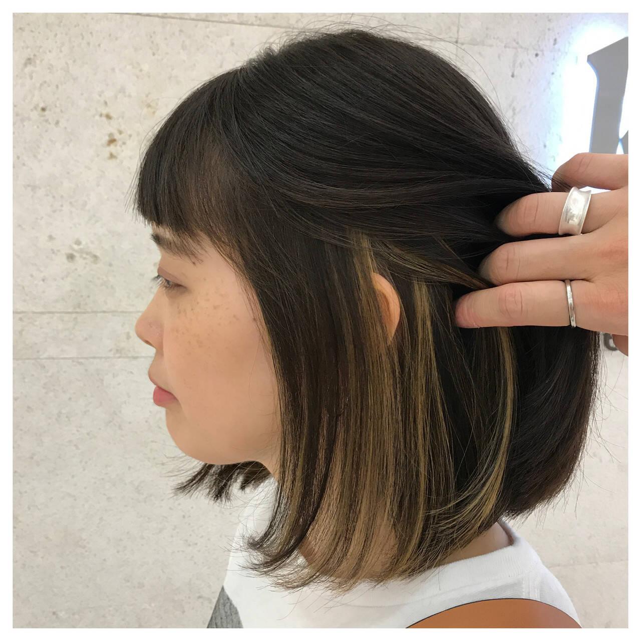 モード ハイライト アンニュイ インナーカラーヘアスタイルや髪型の写真・画像