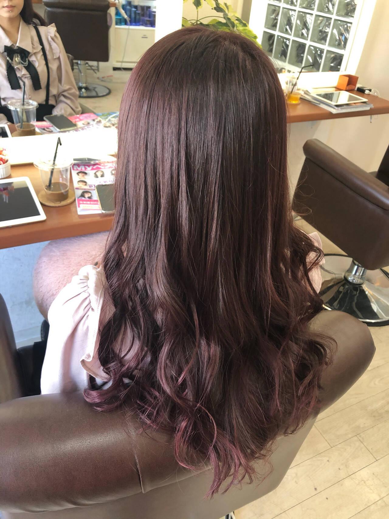 超音波 ピンク ガーリー ラベンダーピンクヘアスタイルや髪型の写真・画像