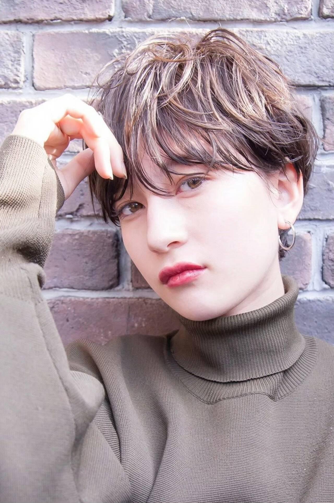 小顔ショート 丸みショート ショートヘア 透明感ヘアスタイルや髪型の写真・画像