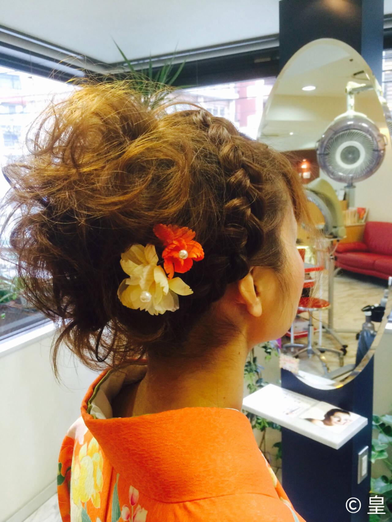 パーティ 着物 アップスタイル ミディアムヘアスタイルや髪型の写真・画像