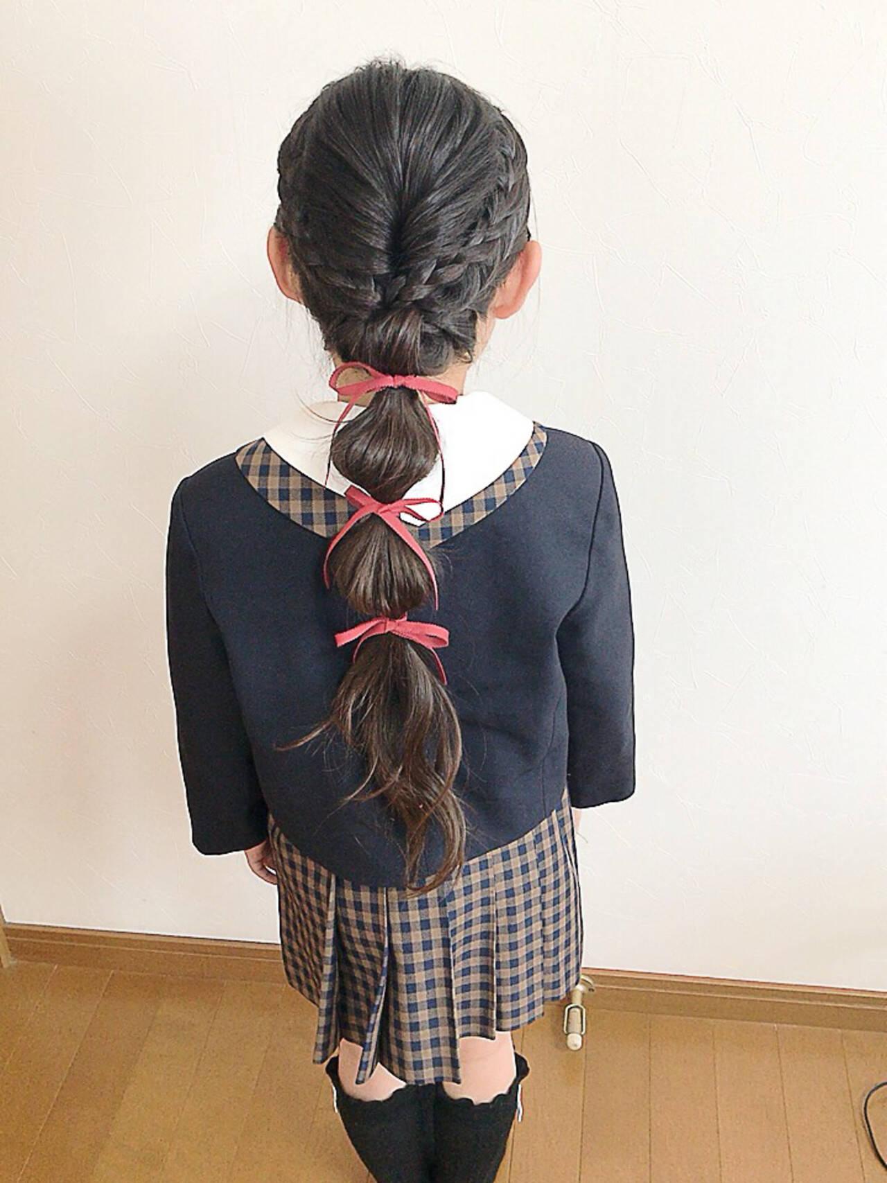 たまねぎアレンジ ヘアアレンジ 子供 ロングヘアスタイルや髪型の写真・画像