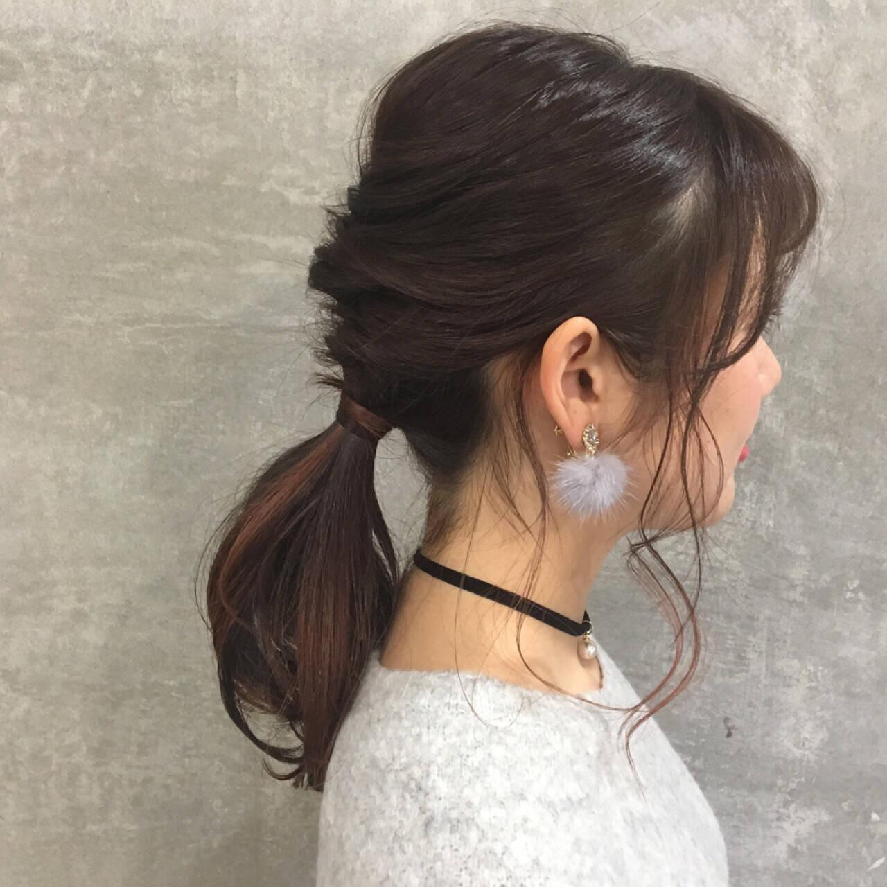 小顔 ショート ヘアアレンジ ミディアムヘアスタイルや髪型の写真・画像