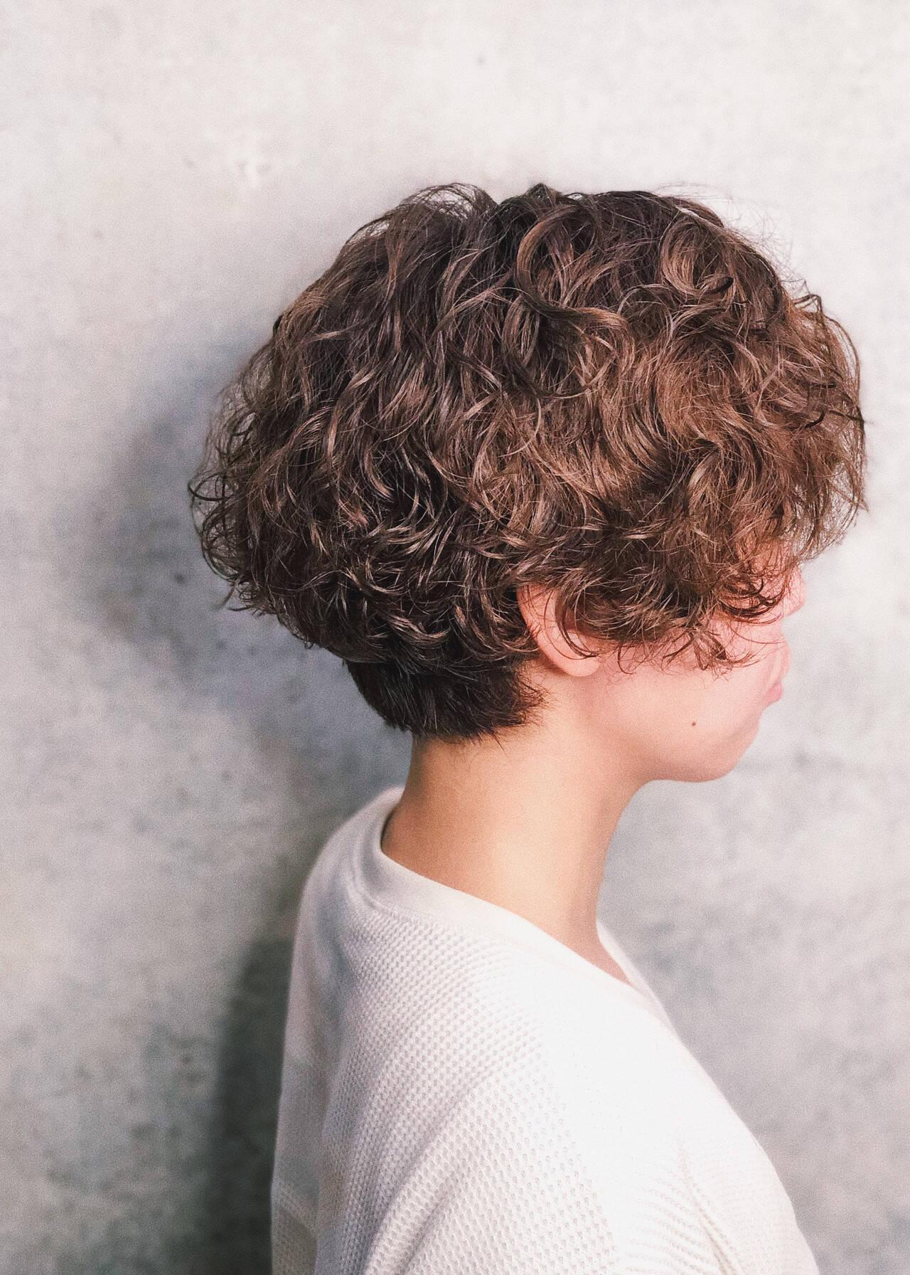 パーマ ストリート ハンサムショート ショートボブヘアスタイルや髪型の写真・画像