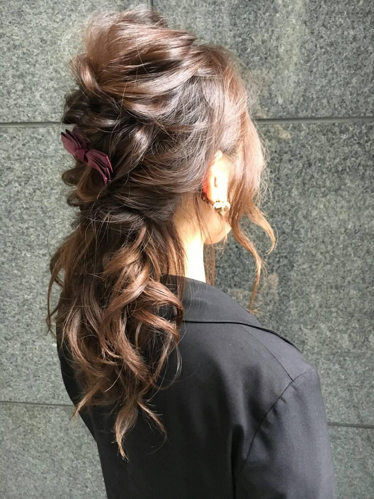 簡単ヘアアレンジ ヘアアレンジ ゆるふわ ロングヘアスタイルや髪型の写真・画像