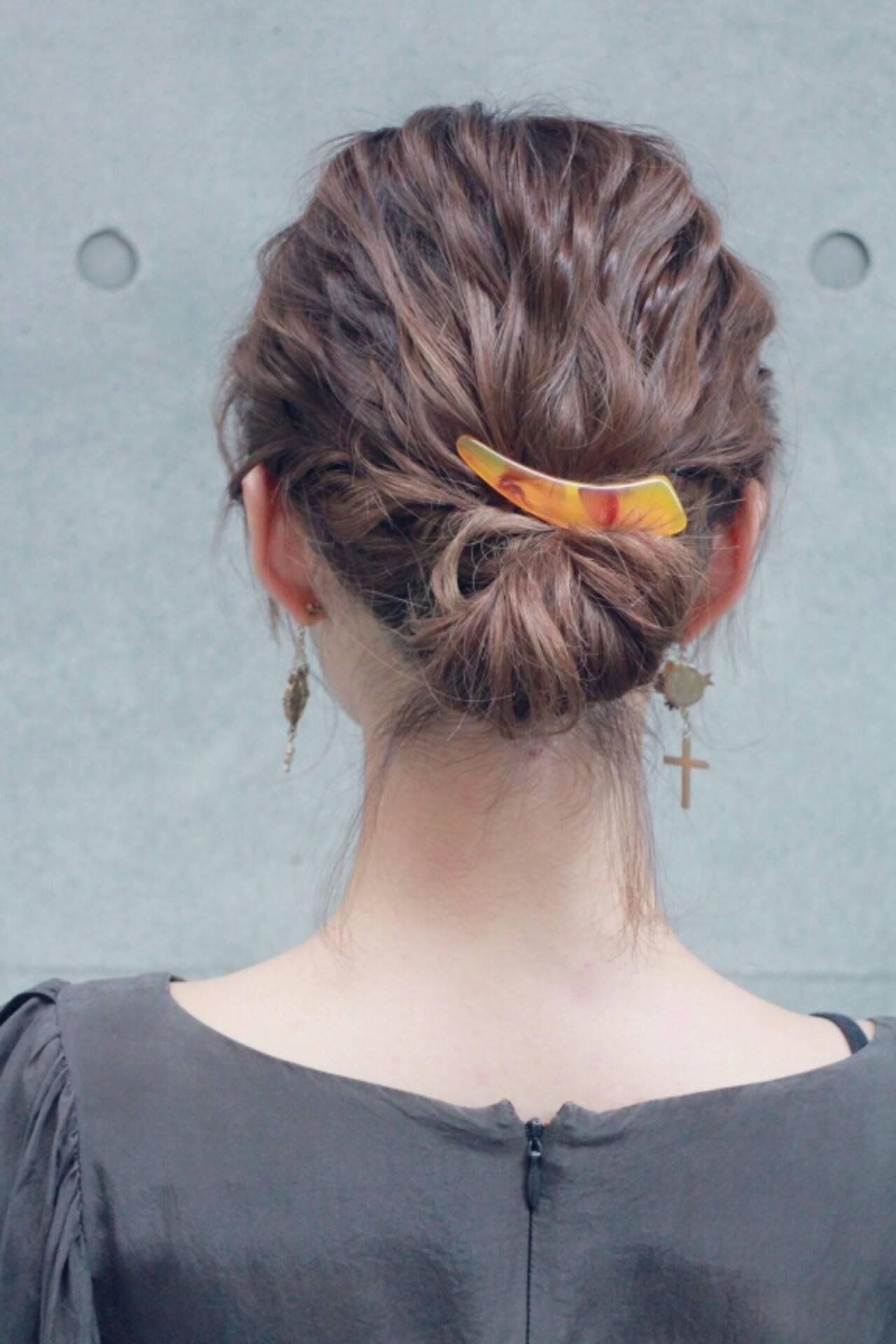 波ウェーブ ゆるふわ 簡単ヘアアレンジ ショートヘアスタイルや髪型の写真・画像