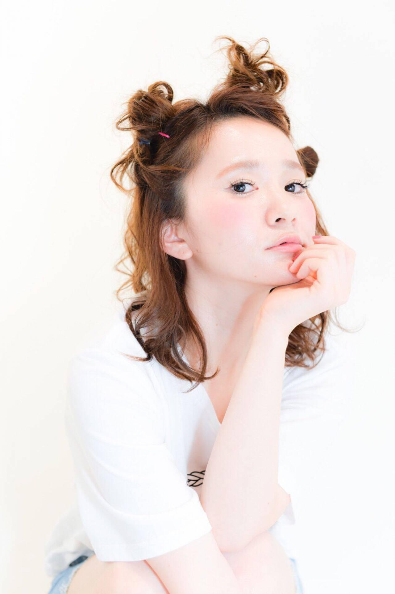 ナチュラル ショート ミディアム 簡単ヘアアレンジヘアスタイルや髪型の写真・画像