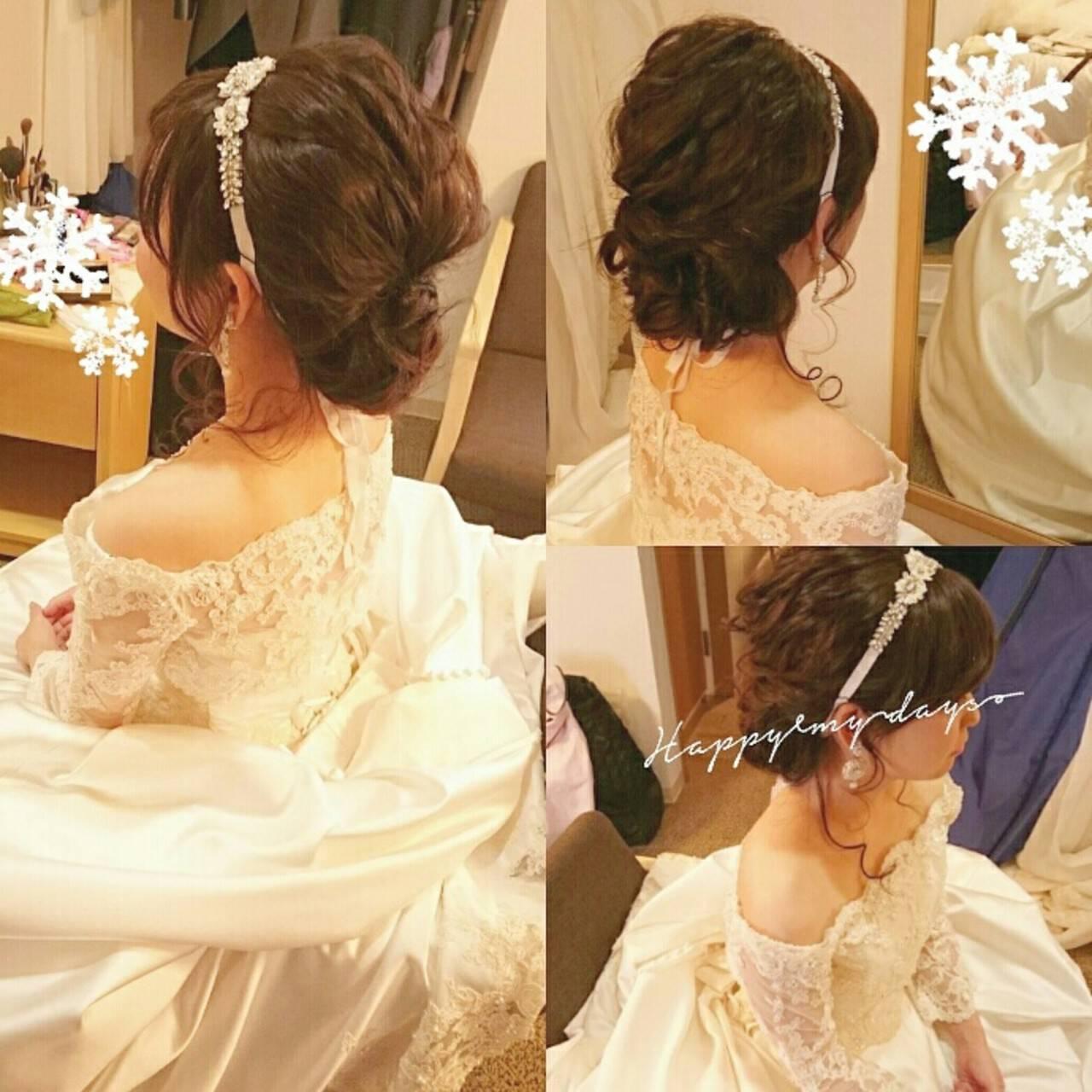 ヘアアレンジ 結婚式 ロング ゆるふわヘアスタイルや髪型の写真・画像