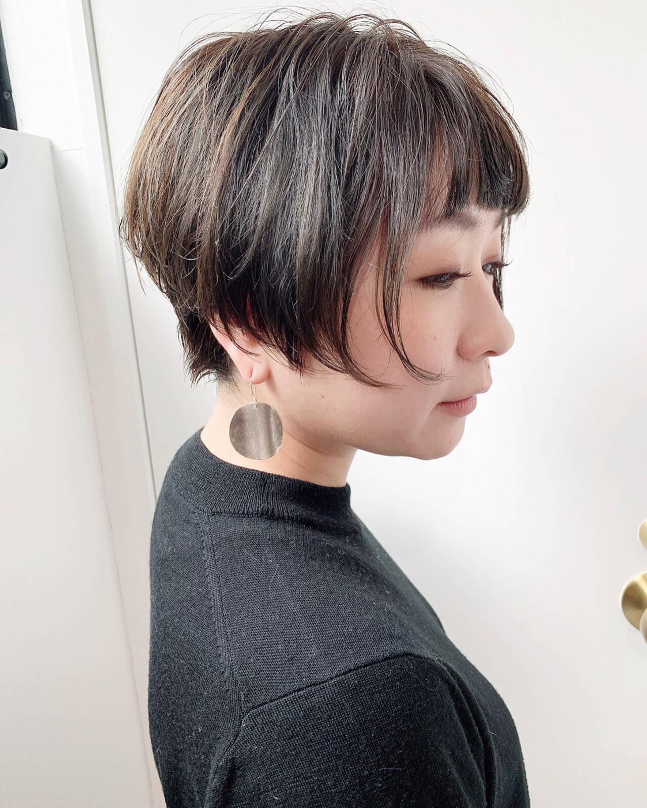 ショートボブ ベリーショート ナチュラル ハイライトヘアスタイルや髪型の写真・画像