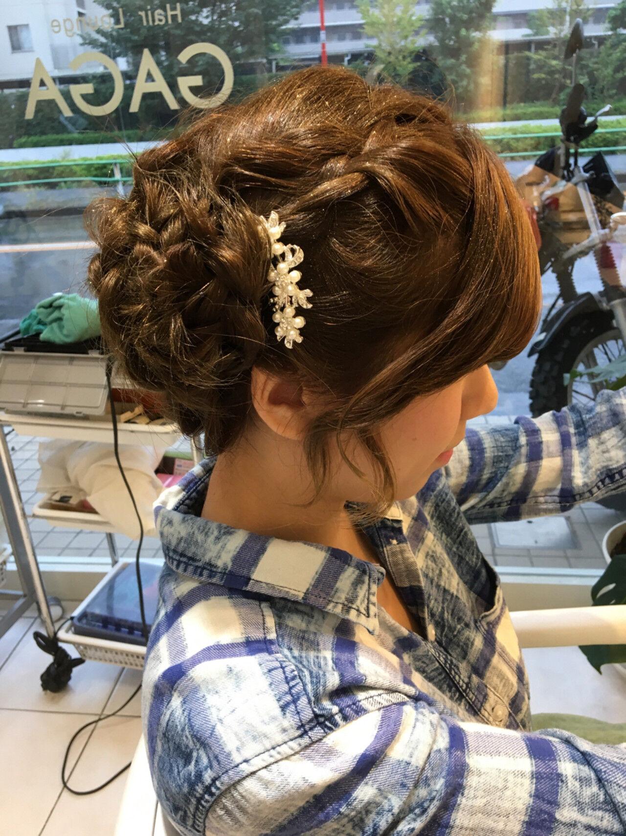 ショート お団子 三つ編み ハーフアップヘアスタイルや髪型の写真・画像