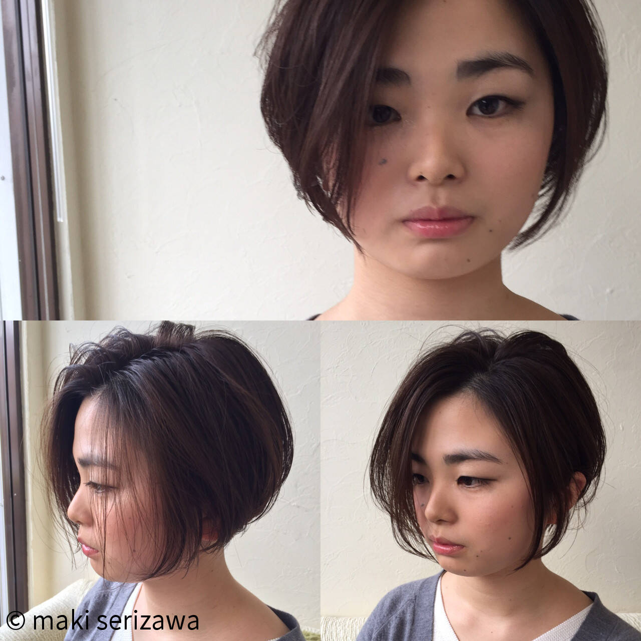 アッシュ ナチュラル ショートボブ ショートヘアスタイルや髪型の写真・画像