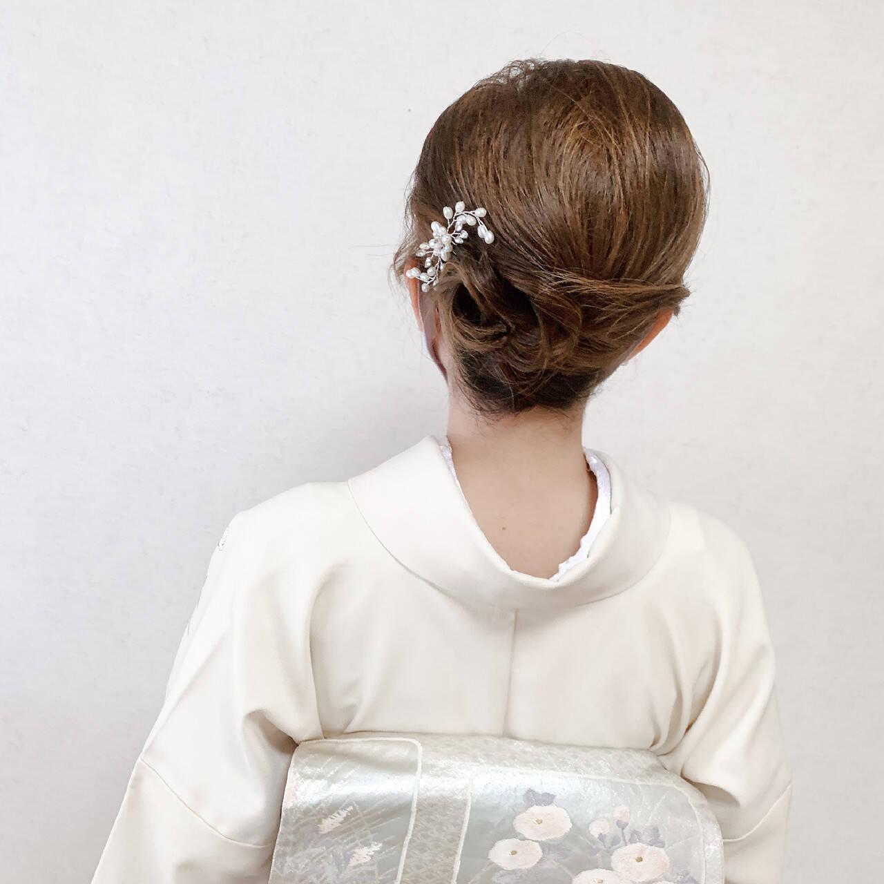 夜会巻 訪問着 和装ヘア 着物ヘアスタイルや髪型の写真・画像