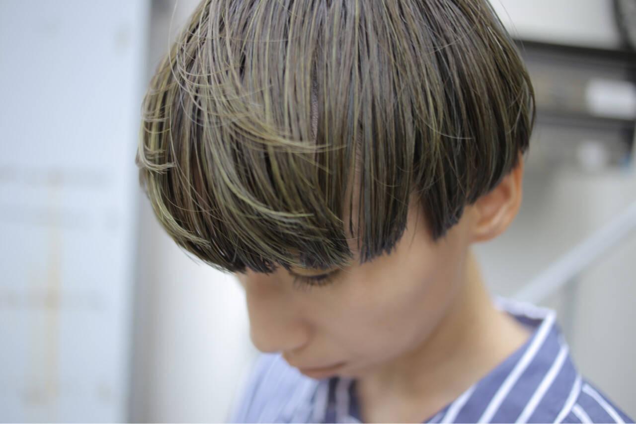 ハイライト ショート ウェットヘア マッシュヘアスタイルや髪型の写真・画像