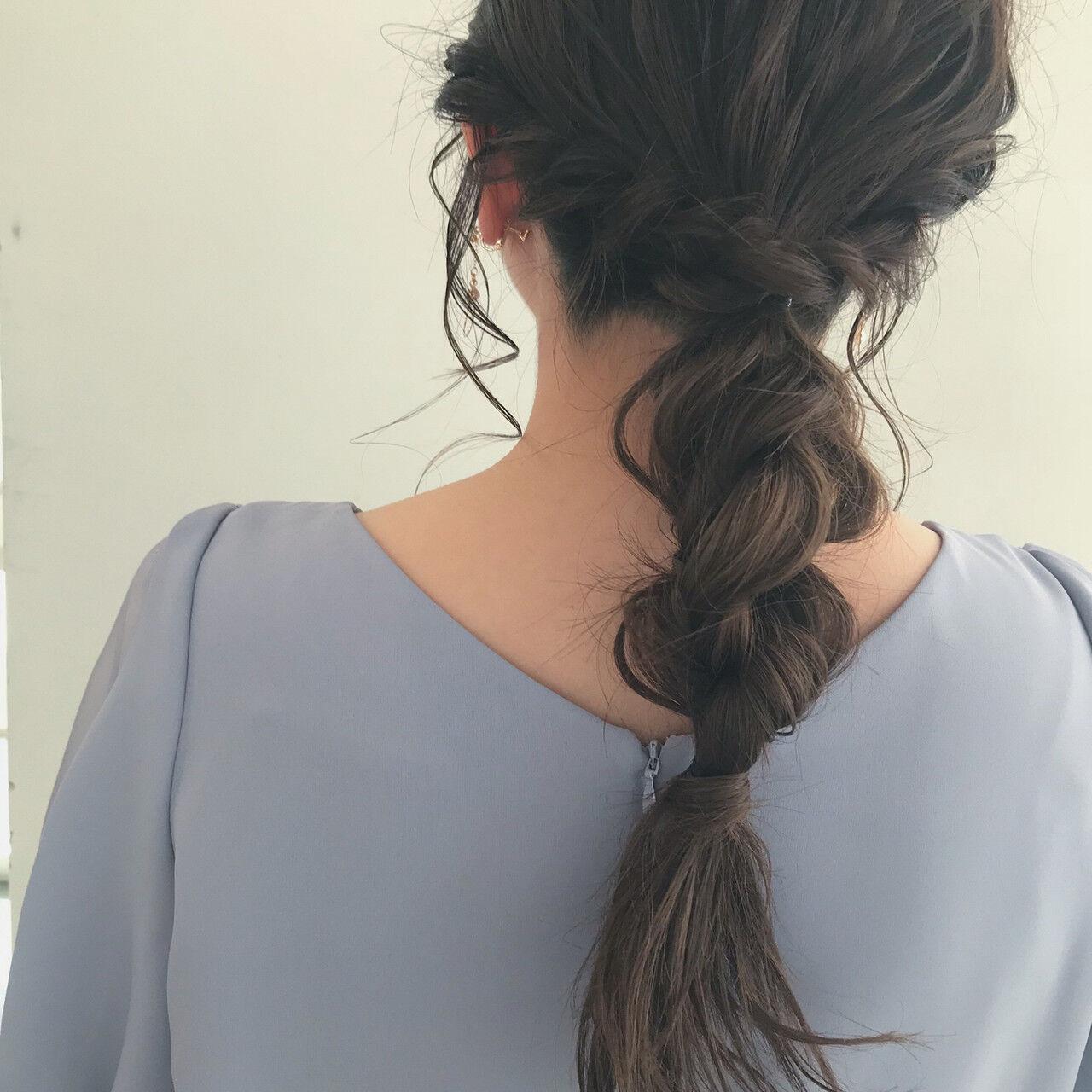 ナチュラル ヘアアレンジ 編みおろしヘア 編みおろしヘアスタイルや髪型の写真・画像