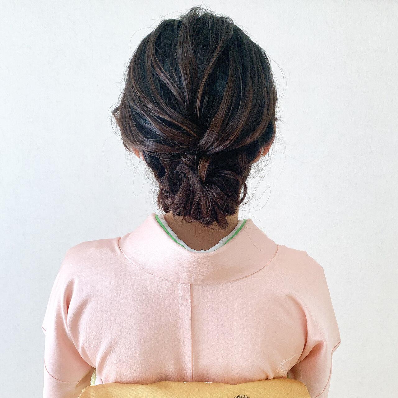 訪問着 ミディアム 結婚式ヘアアレンジ 着物ヘアスタイルや髪型の写真・画像