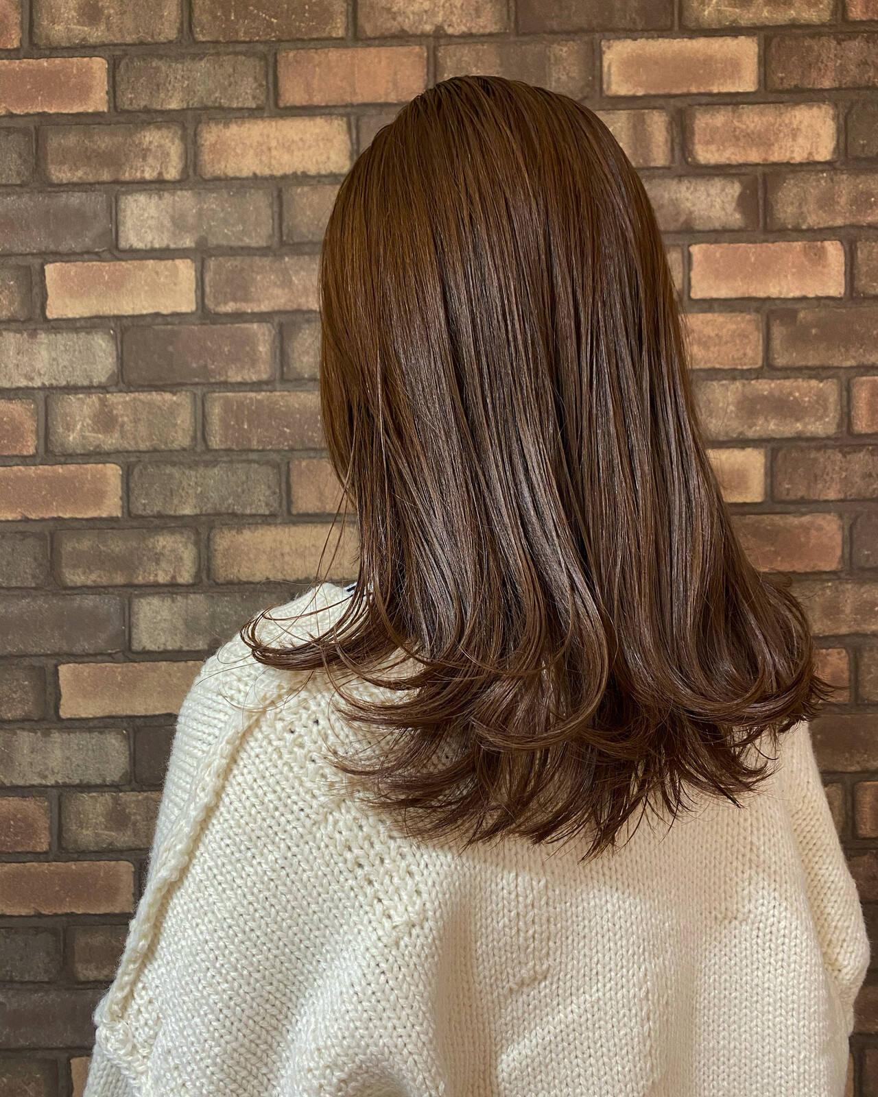 透明感 イルミナカラー ナチュラル セミロングヘアスタイルや髪型の写真・画像