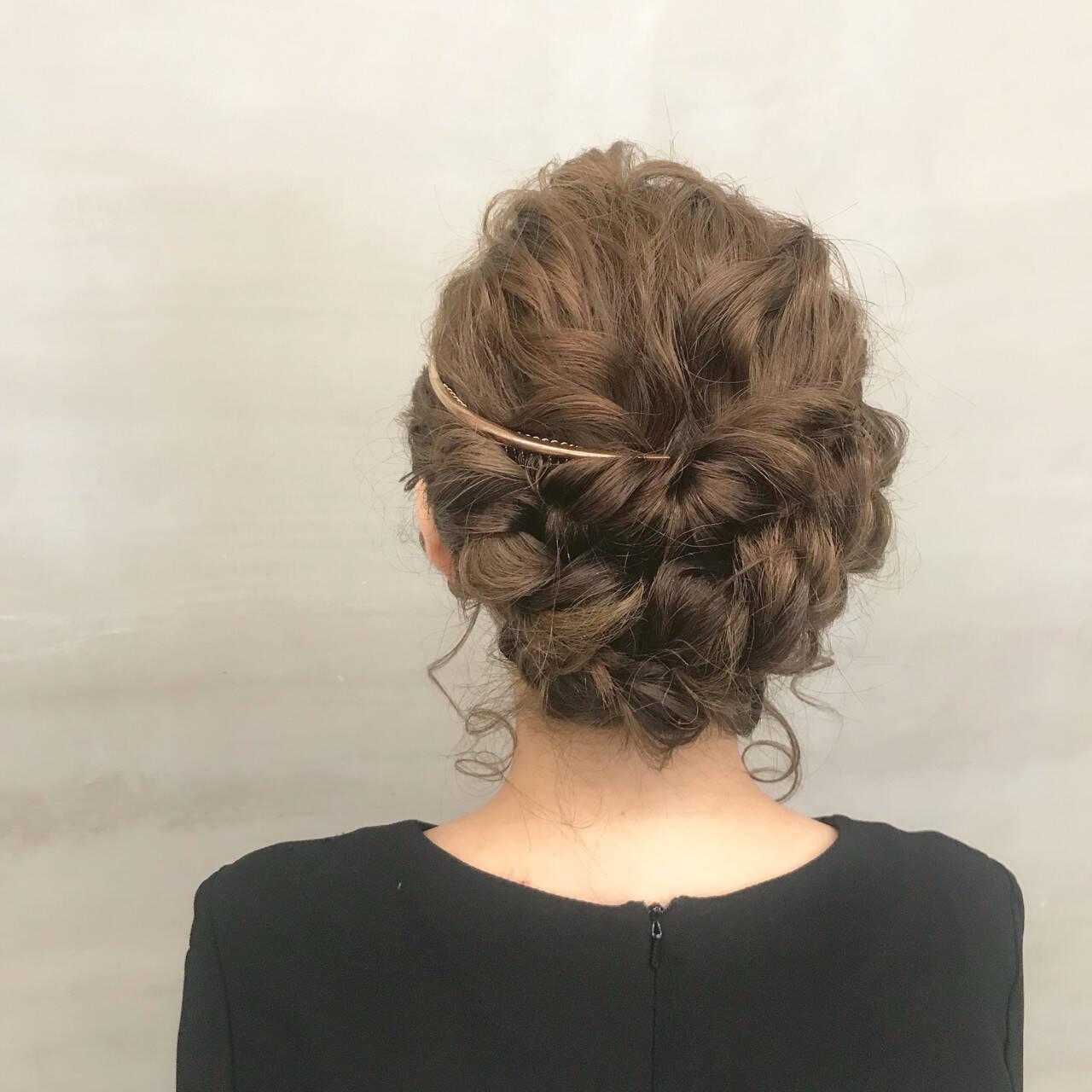 ガーリー 二次会 セミロング ヘアアレンジヘアスタイルや髪型の写真・画像