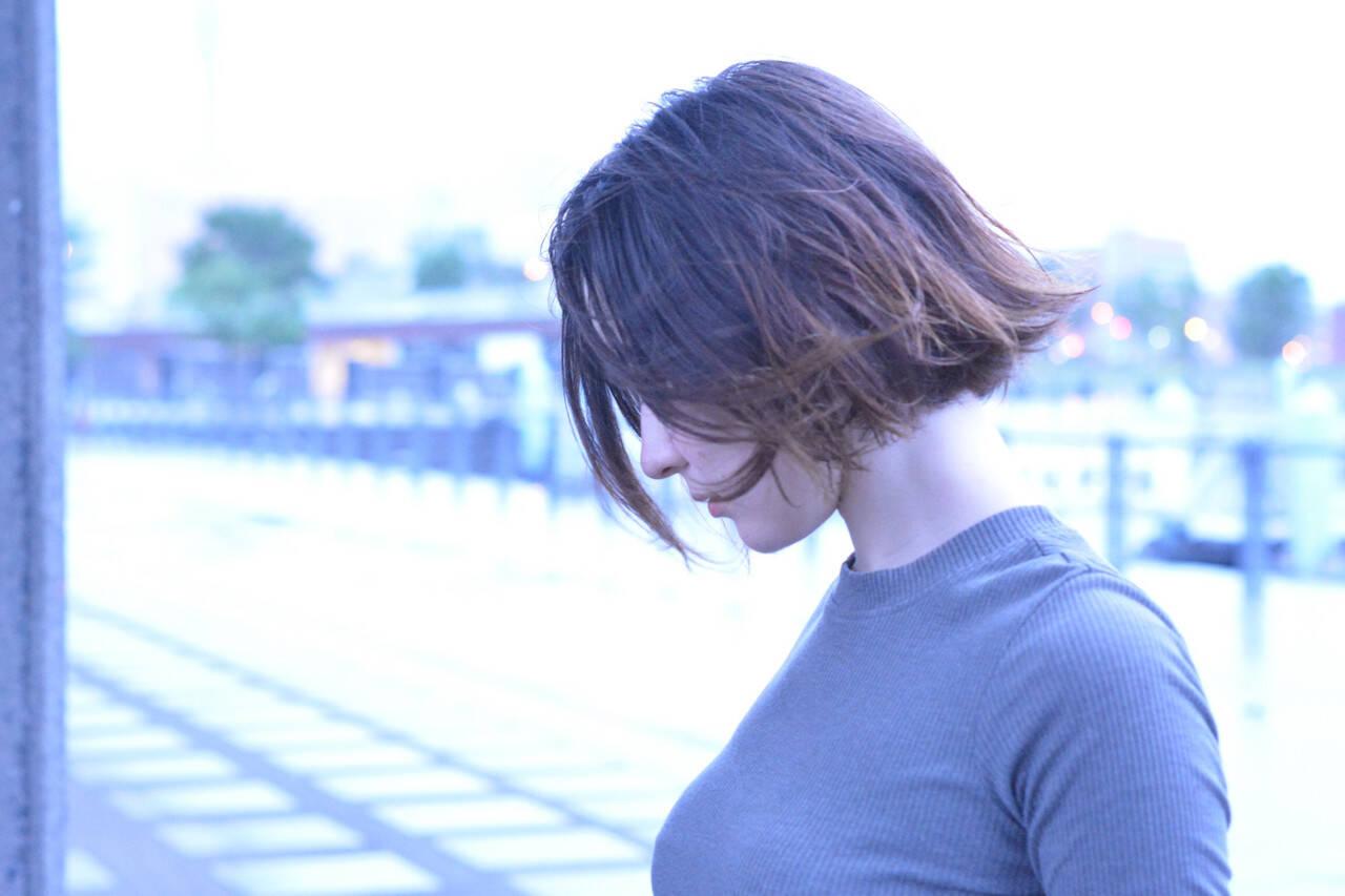 ボブ アウトドア 髪質改善トリートメント ナチュラルヘアスタイルや髪型の写真・画像